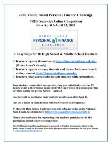 2020 RI Finance Challenge Flyer